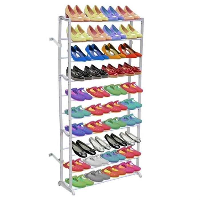 PRO Meuble à Chaussures d'entrée Design Contemporain décor - Étagère à chaussures Banc à chaussures avec 10 étages9487