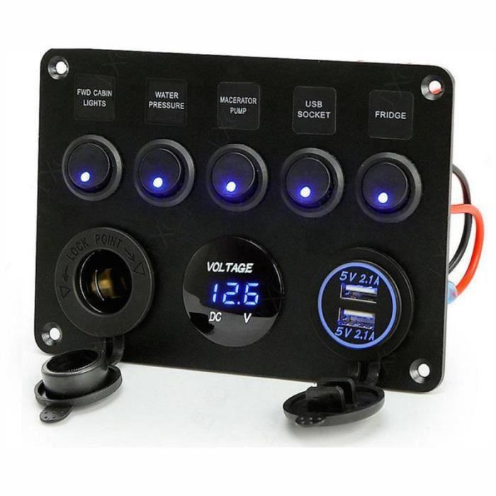 Panneau de commande à bascule, interrupteur marche arrêt à 5 gangs avec voltmètre numérique, 2 chargeur USB 12V pour voiture et bat