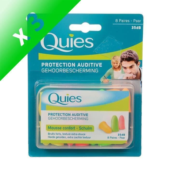 QUIES Protection auditive - Mousse confort - Fluo - 8 paires (Lot de 3)