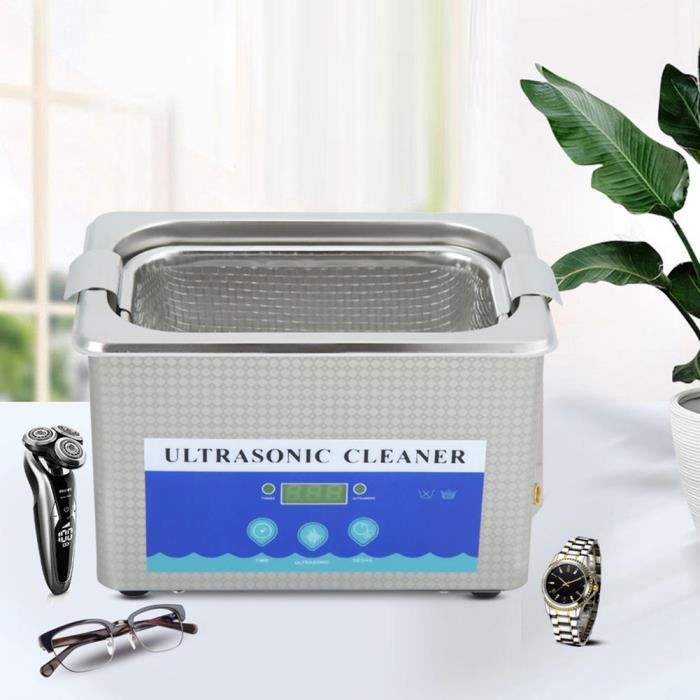 Drfeify Machine de nettoyage à ultrasons en acier inoxydable 800 ml machine de nettoyage de bijoux de montre domestique AB288 -ALA