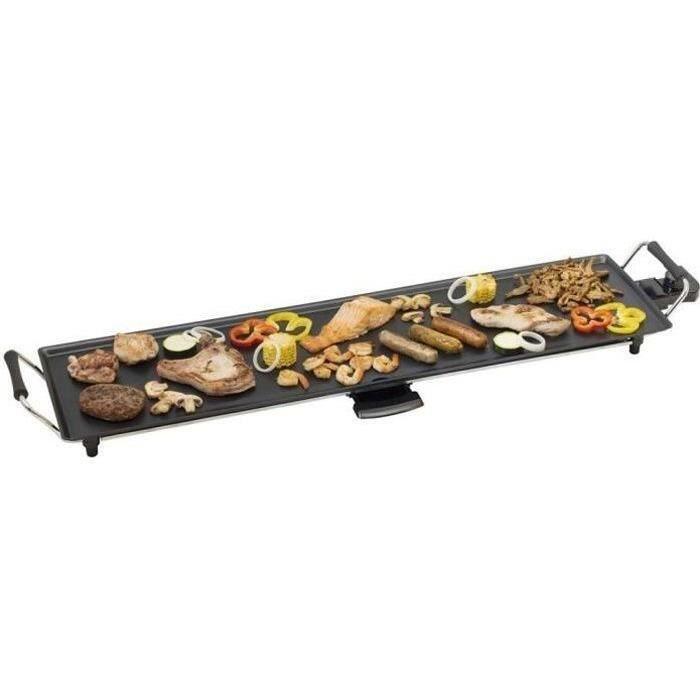 BESTRON Plancha/Plaque de cuisson teppanyaki électrique, pour 6-8 personnes, 90,5 x 23,7 cm, anti-adhésive, 1800 W - Noir
