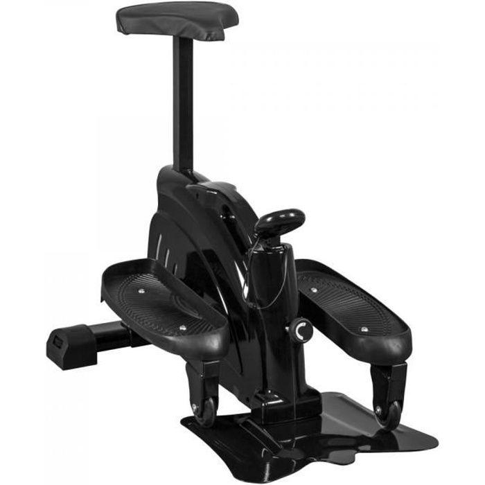 Gorilla Sports - Stepper fitness compact d'appartement noir - avec courroie et masse d´inertie de 1,5kg Noir