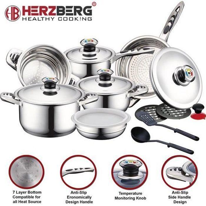 Batterie de Cuisine 16 pièces induction - Sets de casseroles - Couvercle en acier inoxydable avec indicateur de chaleur