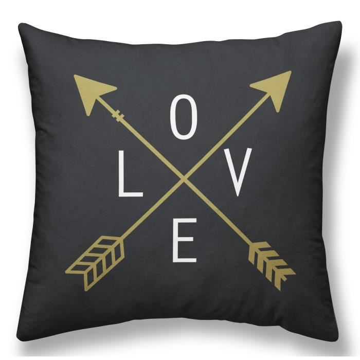 TODAY Coussin Déhoussable GOLD LABEL LOVE 40x40 cm blanc, noir et or