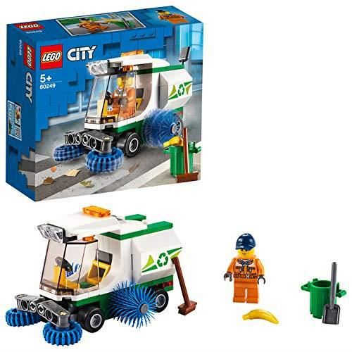 LEGO 60249 City Super véhicules La balayeuse de voirie Camion benne à ordures avec chauffeur, Set de voiture pour enfant 6024