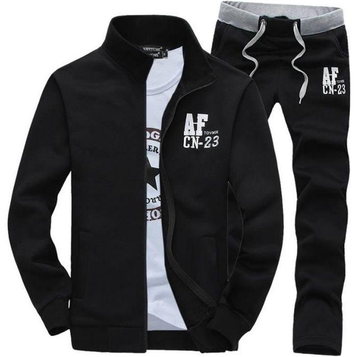 Jogging survêtement Hommes Imprimée Manches longues Grande Taille deux pièces Zipper Veste + Pantalon Noir