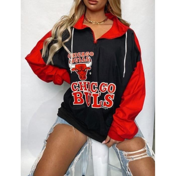 Sweat,Noir rouge lettre impression Sport décontracté sweat femmes Vintage marque Design fermeture éclair col en vrac - Type Black
