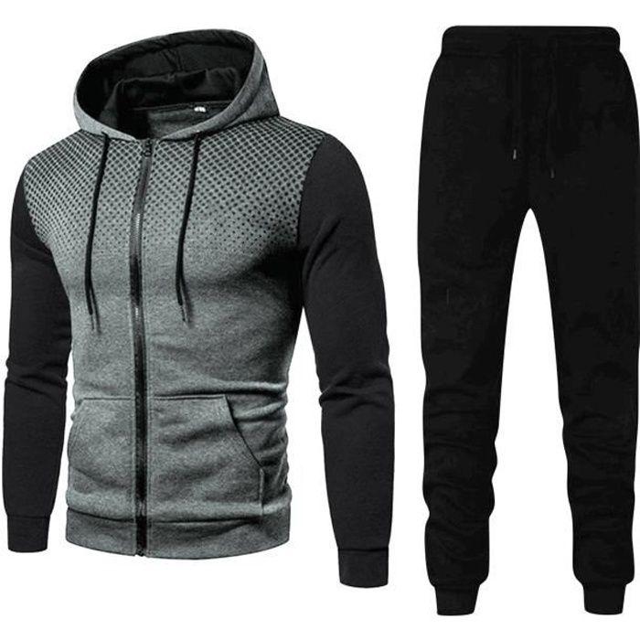 2021 Nouveau Survêtements Homme Manches Longues Ensemble Jogging Sport Causal Vêtements Sweat à Capuche et Pantalons Gris