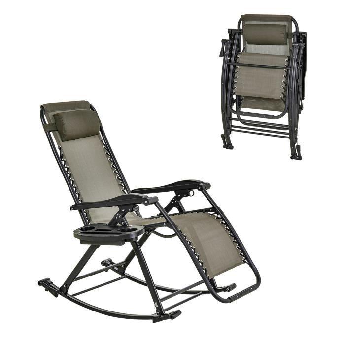 Chaise longue fauteuil à bascule pliable de jardin 2 en 1 design contemporain dim. 133L x 67l x 95H cm acier polyester gris