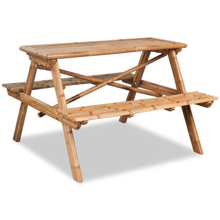 Table de pique-nique Bambou 120 x 120 x 78 cm