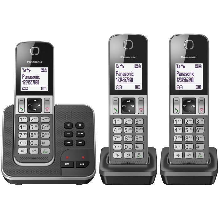Panasonic KX-TGD323FRG, Téléphone DECT, Combiné sans fil, Haut-parleur, 120 entrées, Identification de l'appelant, Noir
