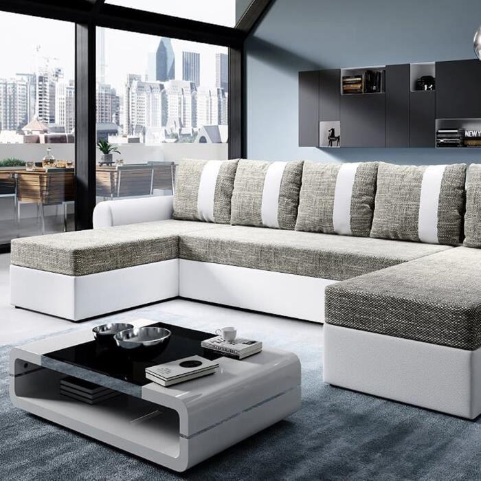 Canapé d'angle convertible - DABIH - blanc / brun - style moderne