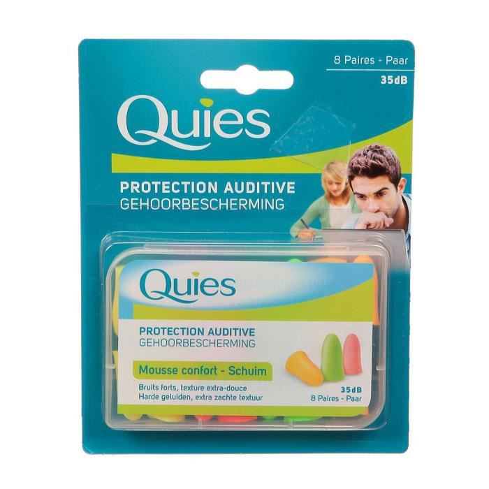QUIES Protection auditive - Mousse confort - Fluo - 8 paires