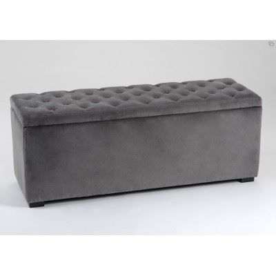 banc coffre capitonn velours gris amadeus achat vente. Black Bedroom Furniture Sets. Home Design Ideas