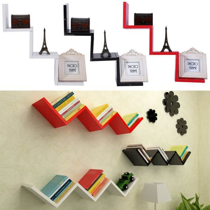 tag re de rangement murale forme w flottant dvd cd tag re en bois mini biblioth que mural. Black Bedroom Furniture Sets. Home Design Ideas