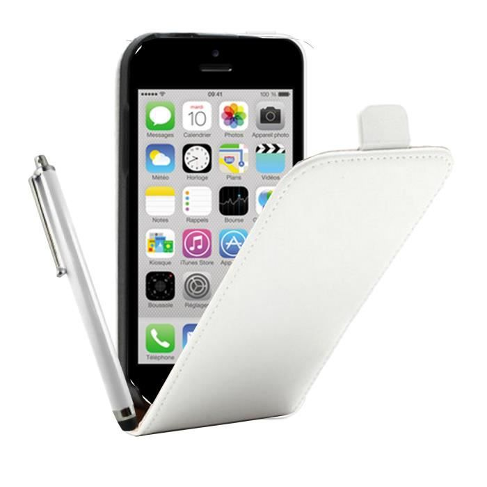Housse verticale cuir blanc pour iphone 3 stylet achat for Housse iphone x
