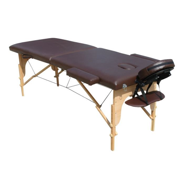 M4h table de massage marron pliante portable bois achat vente table de massage m4h table de - Table de massage pliante bois ...