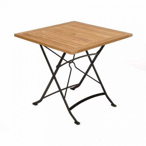 Table carr e pliante teck fer forg medicis achat for Table en fer exterieur