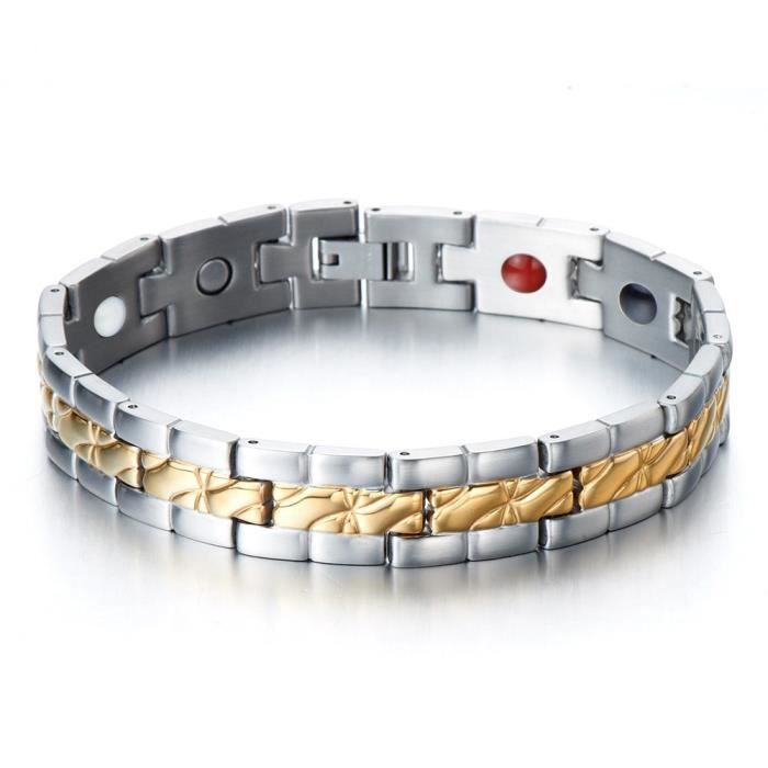 Acier Inoxydable 20.8 Cm Argent//Or//perles noires 8 mm Bracelet Femme Homme Bracelet
