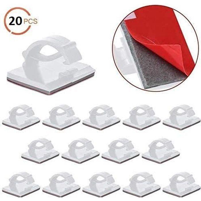 20 pcs//Set câble Attaches cordon adhésif colliers Tableau Mural Organisateur Holder Kit