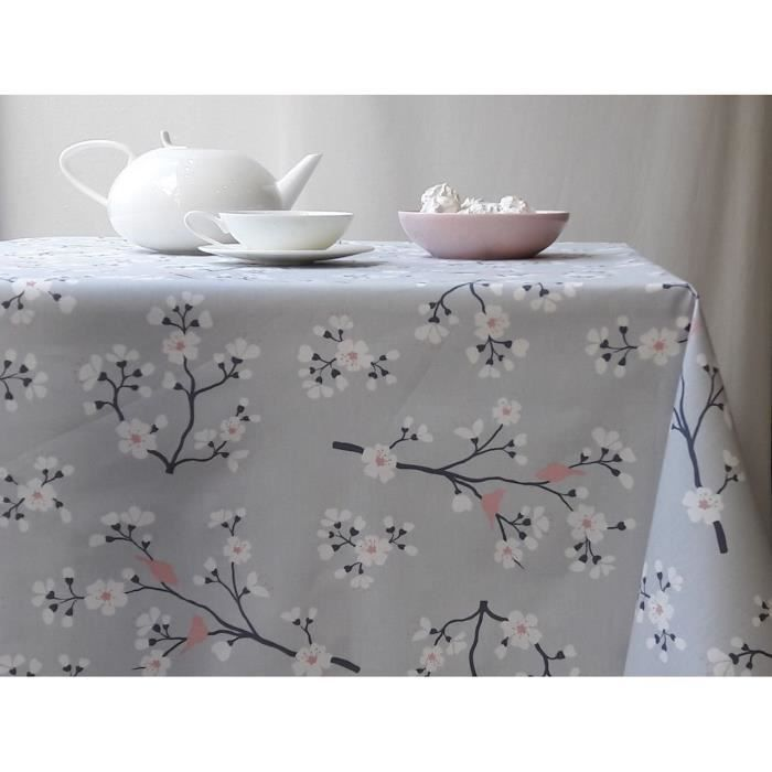 nappe coton enduit cerisier gris rose 160x240 fleur de soleil achat vente nappe de table. Black Bedroom Furniture Sets. Home Design Ideas