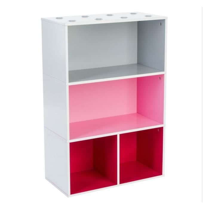 etagere 4 cases rose multicolor achat vente armoire de. Black Bedroom Furniture Sets. Home Design Ideas