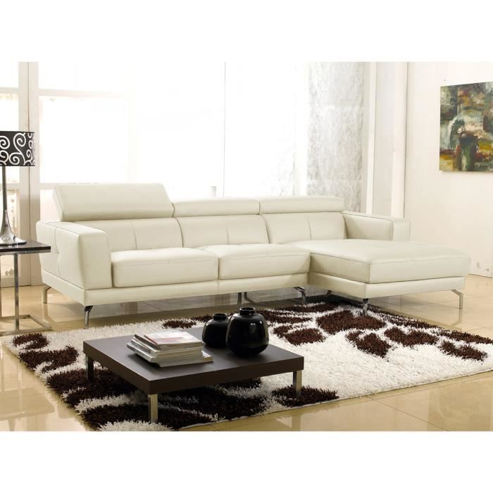 canap d 39 angle droit cuir beige oslo achat vente canap sofa divan cuir polyur thane. Black Bedroom Furniture Sets. Home Design Ideas