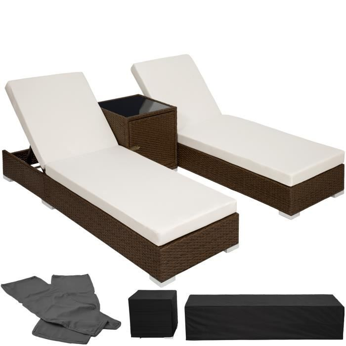 chaise longue transat bain de soleil en aluminium poly rotin marron tectake table 2 sets. Black Bedroom Furniture Sets. Home Design Ideas