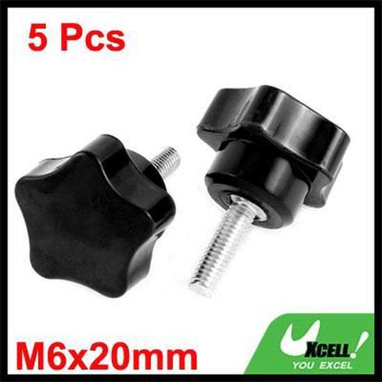 Plastique Tête Ronde À Visser Type Bouton Serrage Connecteur M5x15mm 5Pcs Noir