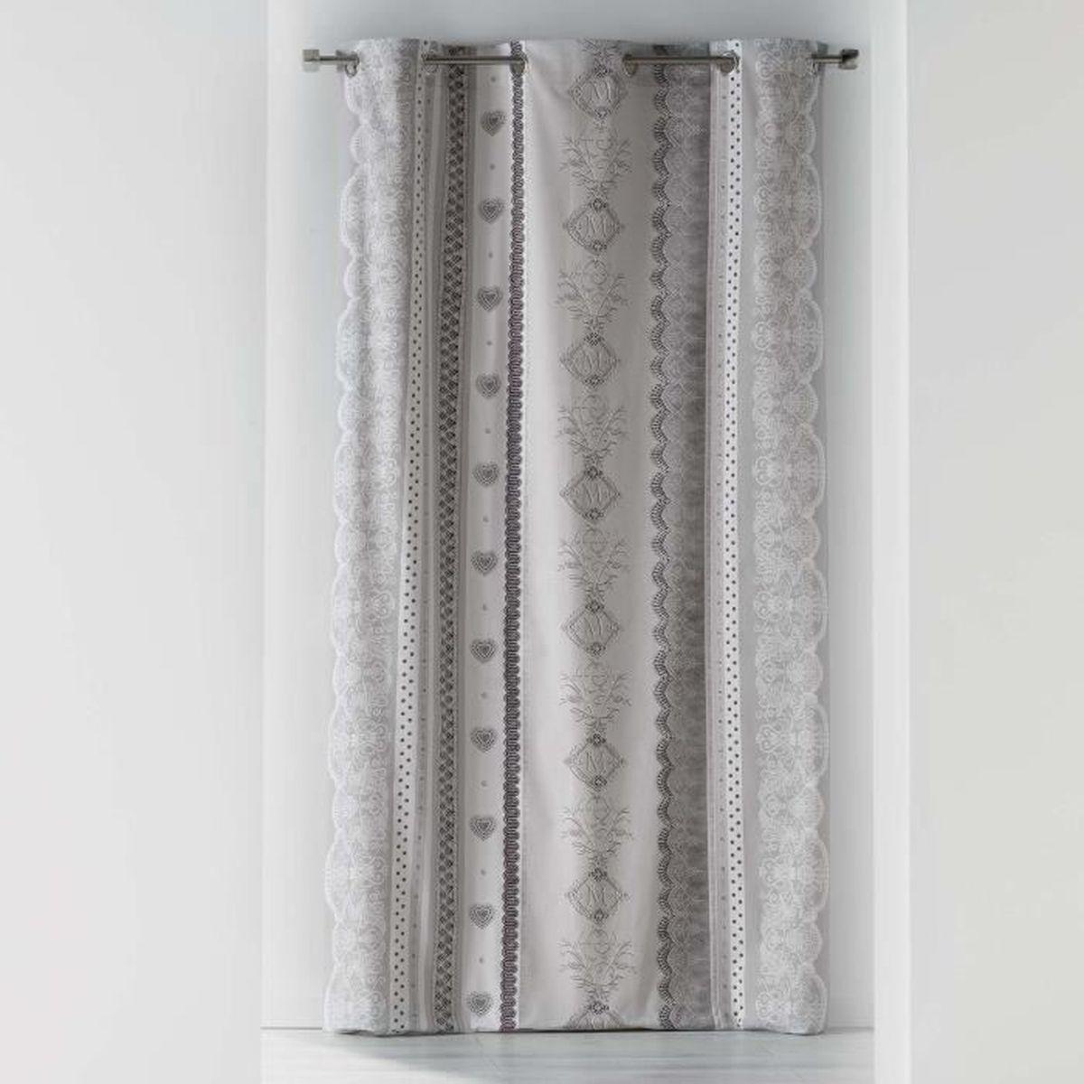 Douceur dInt/érieur Rideau A Oeillets 140 x 240 CM Coton Imprime SOLAMOUR