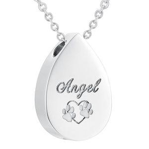 SAUTOIR ET COLLIER ss8029 ange chien - chat pet urn crémation bijoux