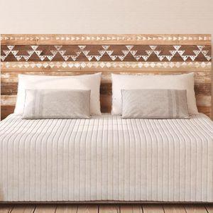 STICKERS Autocollant mural tête de lit planches de bois - E
