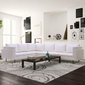 CANAPÉ - SOFA - DIVAN Canapé d'angle 7 places en cuir synthétique blanc
