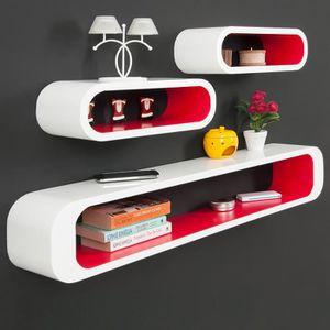 CASIER POUR MEUBLE Lot de 3 étagères Cubes -Rouge-blanc – Look Rétro