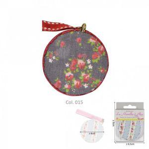 MÈTRE - RUBAN Mètre ruban fleurs rouges sur fonds jean