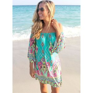 ROBE DE PLAGE Bohème Robes d'été élégantes Slash Neck Beach S...
