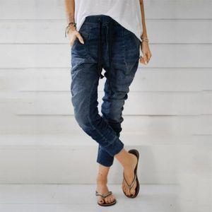 JEANS Femmes cordonnet Jeans Denim Casual Poches Baggy S