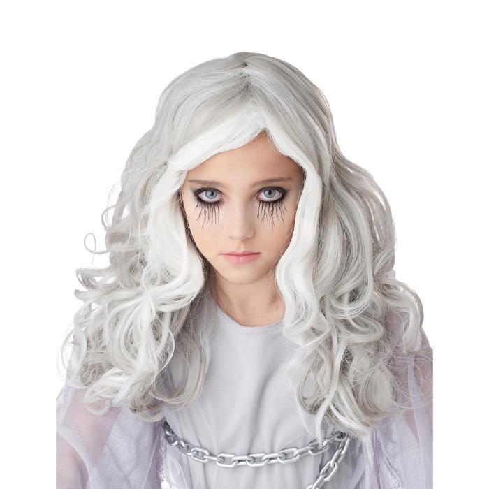 Perruque longue grise phosphorescente enfant - Blanc