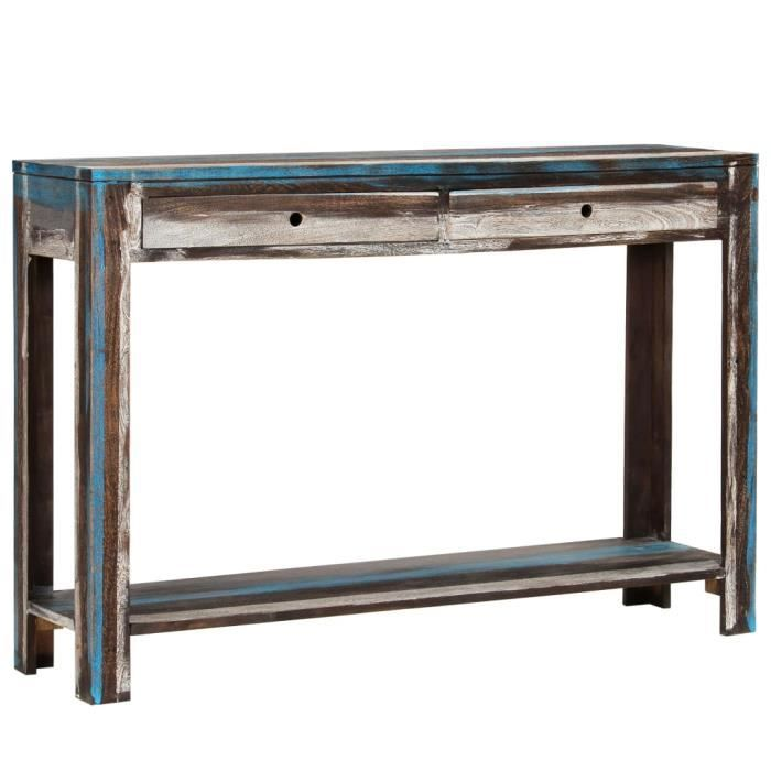 INGSHOP© Table console Bois massif Vintage 118 x 30 x 80 cm Surface polie, peinte et laquée