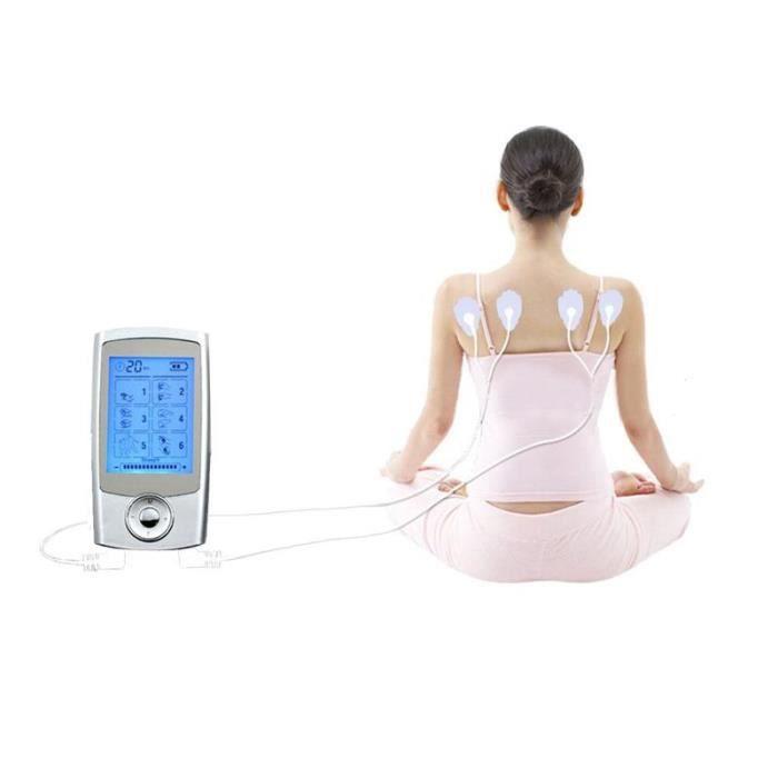 Électrostimulateur TENS, soulagement des douleurs avec 16 programmes de massage, 2 canaux de sortie (A et B) pour le traitement
