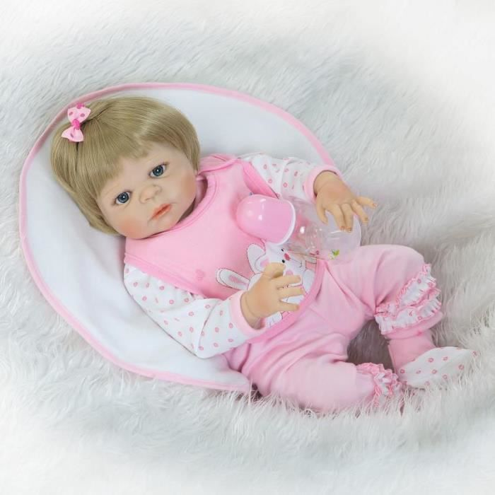57 CM NPK Plein Corps En Silicone Reborn Poupée Belle Vivid Bébé Reborn fille Poupée Avec Blond Cheveux Enfant Baignade