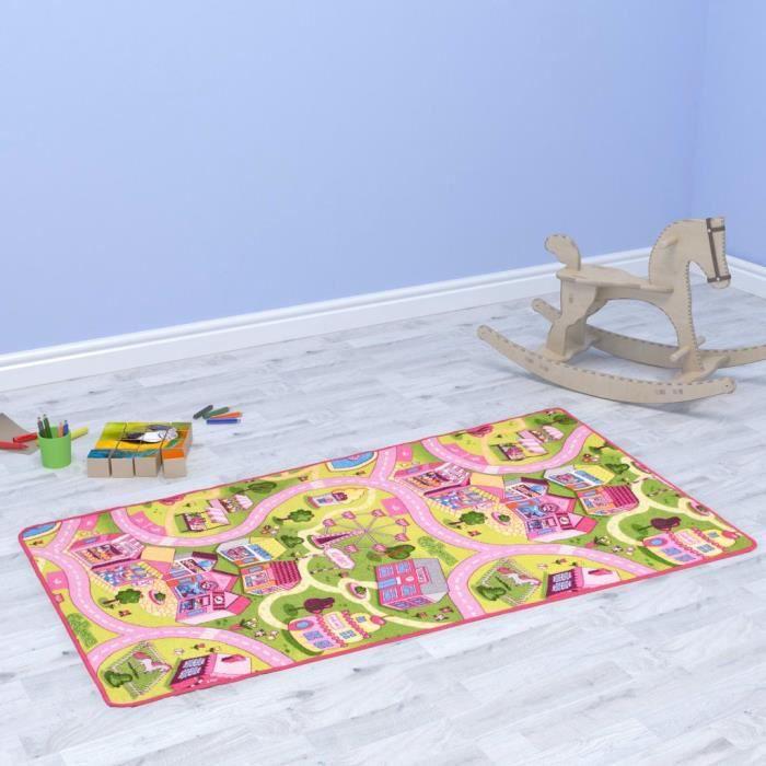 Tapis de jeu - Tapis Éveil - Aire Bébé Poil à boucle 100 x 165 cm Motif de ville jolie ®UWYYPF®