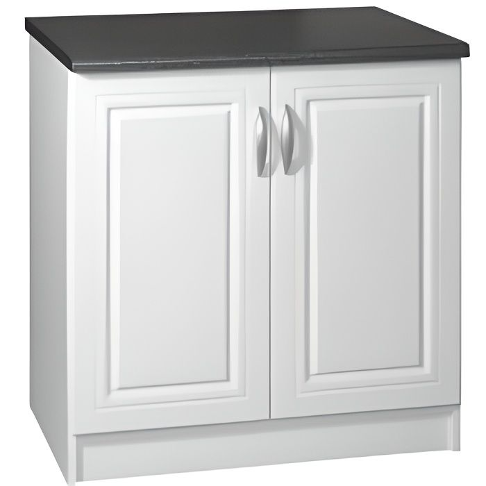 Meuble cuisine bas 80 cm 2 portes DINA blanc