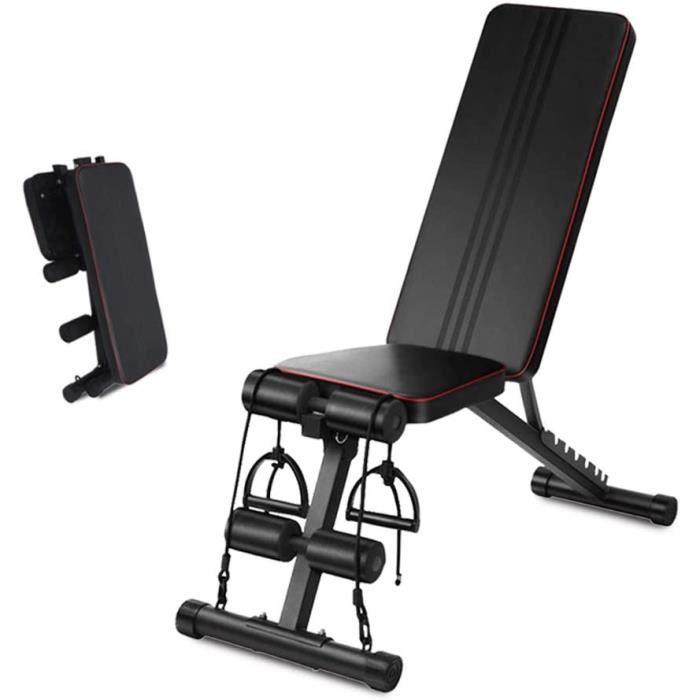 Sin Banc de musculation réglable bide - Banc de musculation pliable avec dossier 7 positions - Banc de fitness multifonction à A414