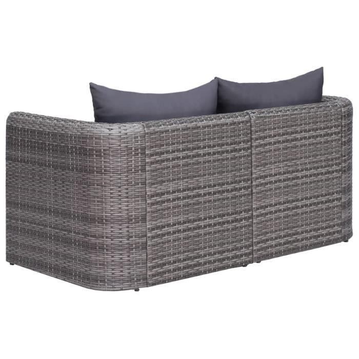 Parfait - Canapés d'angle de jardin 2 pcs - Sofa Divan Canapé Confortable Banquette de jardin Gris Résine tressée @536318