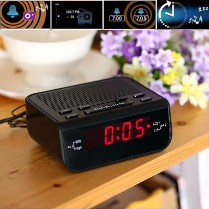 QN LED Numérique Radio Réveil FM Double Alarmes FM87.5-108MHz Lecteur Sonore EU Fiche 220V @4