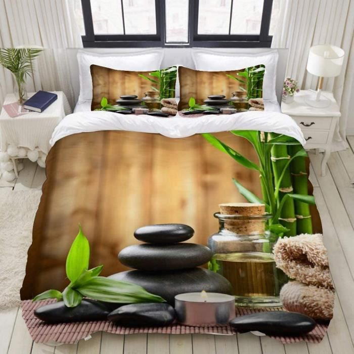 Housse de Couette, Bambou Zen Garden Theme Design Japonais Pebble Oil Essential Oil Massage Relaxation Modern Spa Ho 240x220 cm[553]