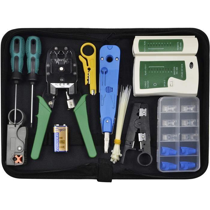 Kit de réparation réseau - Chairlin 13 pièces - Kit d'outils réseau professionnel - Kit de testeur de câbles réseau - Kit d'outillag