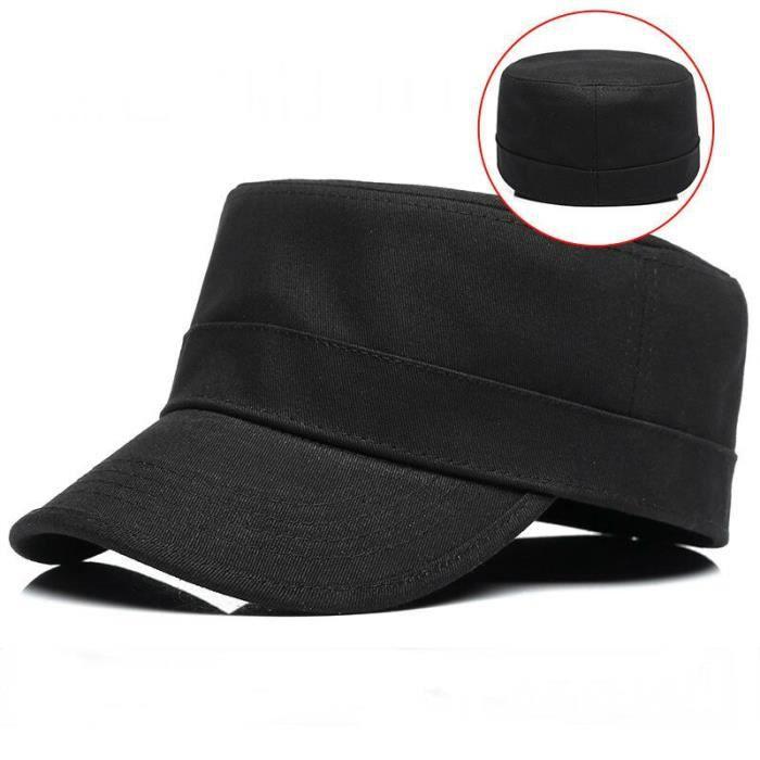 Dos plein fermé hard top casquette militaire adulte coton ajusté baseball chapeau grande tête homme Black 58cm