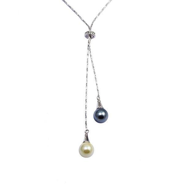 Collier Double Perle Noire et Blanche, Cristal de Swarovski Element et Plaqué Rhodium - Blue Pearls